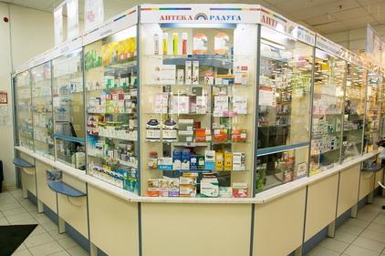 Стойки с мед препаратами в Аптеке радуга